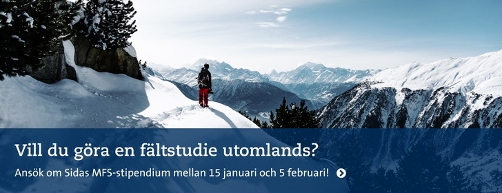 Sidas Minor Field Studies (MFS)-stipendier med ansökningsperiod 15 januari - 5 februari 2020!